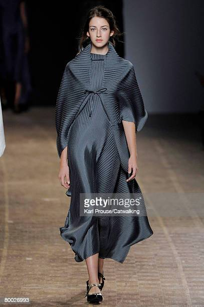 Model walks the runway wearing the Issey Miyake Fall/Winter 2008/2009 collection during Paris Fashion Week on February 26, 2008 in Paris, France.