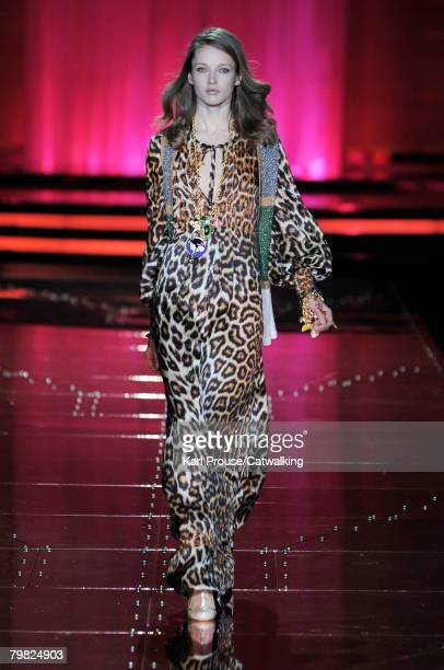 A model walks the runway wearing the Just Cavalli Fall/Winter 2008/2009 collection during Milan Fashion Week on the 17th of February 2008 in Milan...