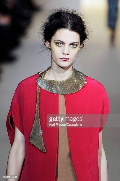 Model walks the runway wearing the Marni Fall/Winter 2008/2009 collection during Milan Fashion Week on the 20th of February 2008 in Milan, Italy.