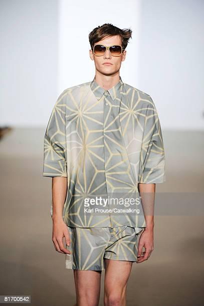 Model walks the runway wearing the Marni Menswear Spring/Summer 2009 collection during Milan Fashion Week on June 24, 2008 in Milan, Italy.