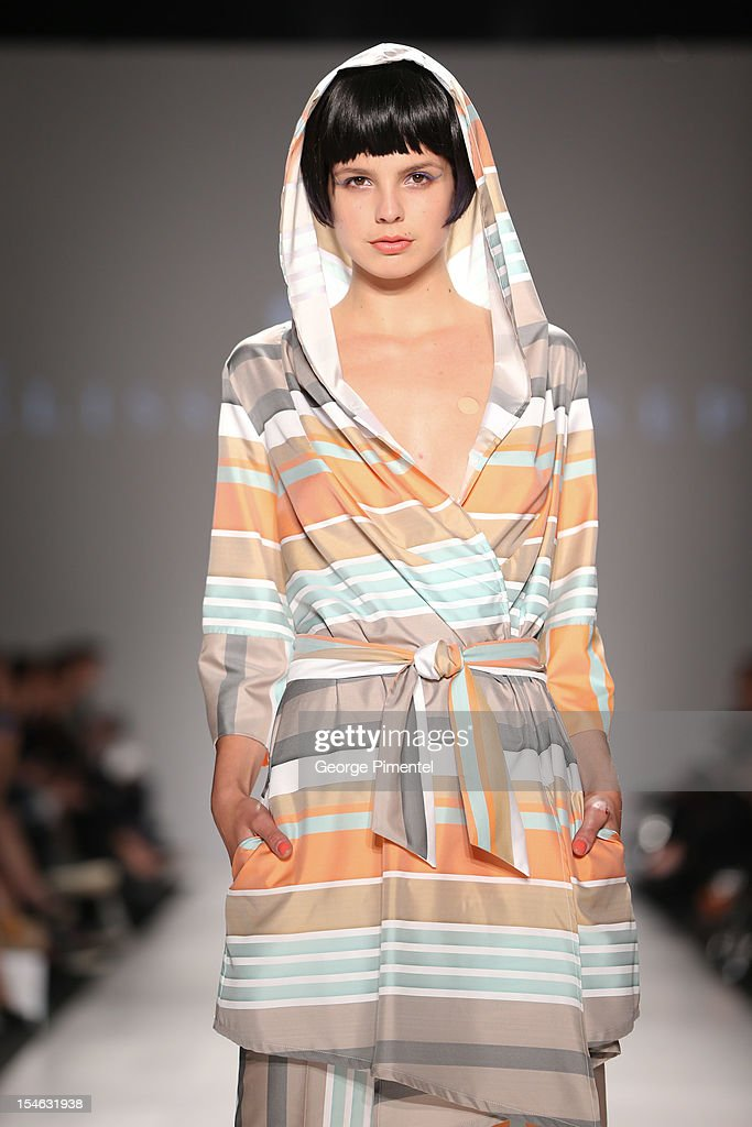 A model walks the runway wearing the Melissa Nepton spring 2013 collection at David Pecaut Square on October 23, 2012 in Toronto, Canada.