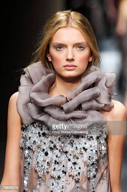 Model walks the runway wearing the Missoni Fall/Winter 2008/2009 collection during Milan Fashion Week on the 17th of February 2008 in Milan, Italy.