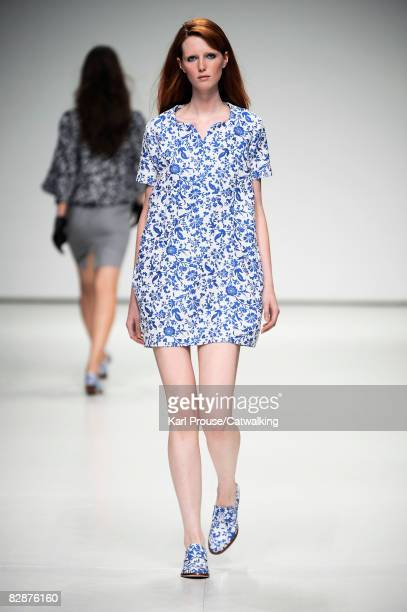 A model walks the runway wearing the Peter Jensen Spring/Summer 2008/2009 collection during London Fashion Week on September 17 2008 in London England