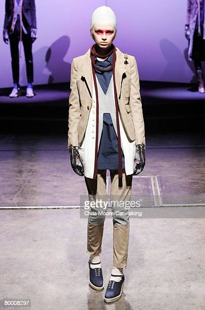 Model walks the runway wearing the Undercover Fall/Winter 2008/2009 collection during Paris Fashion Week on the 25th of February 2008 in Paris,France.