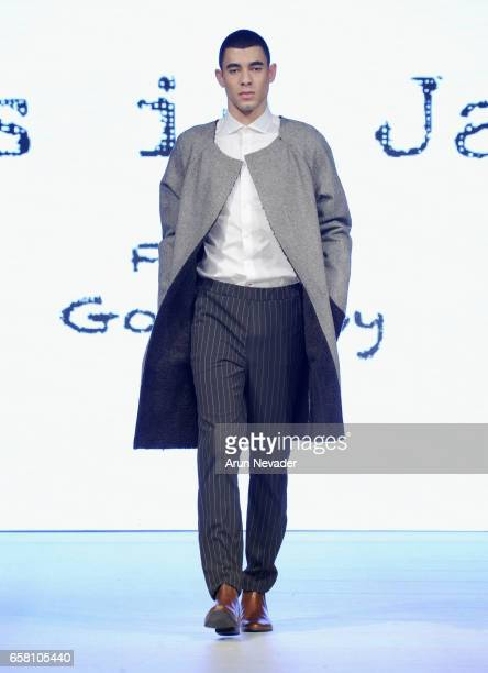 A model walks the runway wearing This Is James at Vancouver Fashion Week Fall/Winter 2017 at Chinese Cultural Centre of Greater Vancouver on March 26...