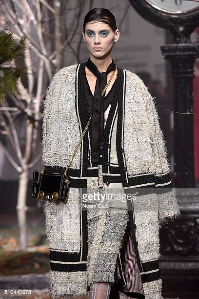 A model walks the runway wearing Thom Browne Fall 2016 during New York Fashion Week The Shows at Skylight Modern on February 15 2016 in New York City