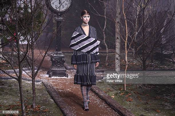 A model walks the runway wearing Thom Browne Fall 2016 during New York Fashion Week on February 15 2016 in New York City