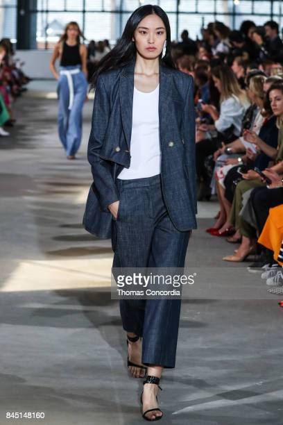 A model walks the runway wearing Tibi Spring 2018 during New York Fashion Week on September 9 2017 in New York City