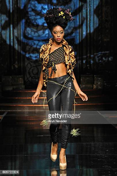 A model walks the runway wearing Tigers Eye Clothing at Art Hearts Fashion NYFW The Shows presented by AIDS Healthcare Foundation at The Angel...