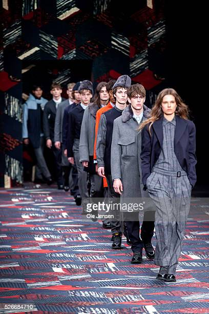 A model walks the runway wearing Tonsure' latest menswear collection during the Copenhagen Fashion Week Autumn/Winter 2016