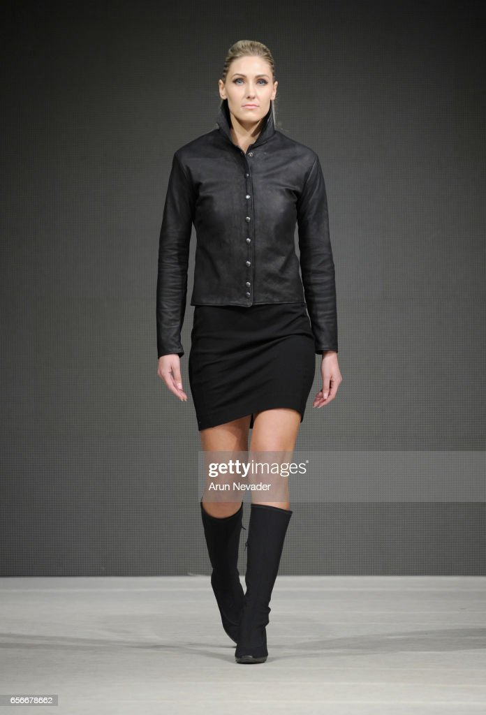 A model walks the runway wearing Tristen Mickelson at Vancouver Fashion Week Fall/Winter 2017 at Chinese Cultural Centre of Greater Vancouver on March 22, 2017 in Vancouver, Canada.
