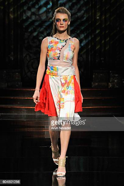 A model walks the runway wearing Trompeloeil at Art Hearts Fashion NYFW The Shows presented by AIDS Healthcare Foundation at The Angel Orensanz...