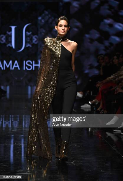 A model walks the runway wearing Usama Ishtay at Los Angeles Fashion Week Powered by Art Hearts Fashion LAFW SS/19at The Majestic Downtown on October...