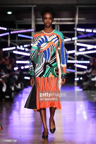 A model walks the runway wearing Uta Sienkiewicz at the Central Saint Martins MA show during London Fashion Week February 2019 on February 15 2019 in...