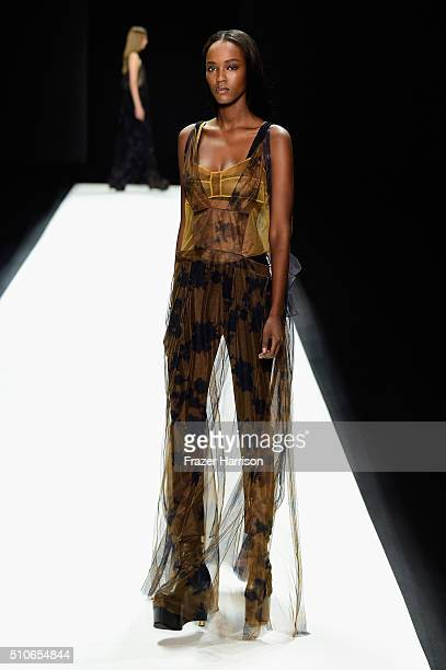 A model walks the runway wearing Vera Wang Collection Fall 2016 during New York Fashion Week The Shows at The Arc Skylight at Moynihan Station on...