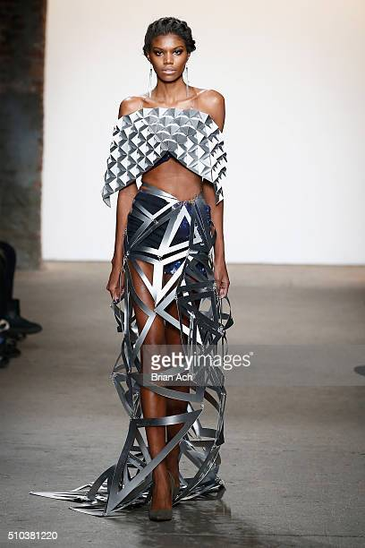 Model walks the runway wearing Virtruvius at Nolcha shows during New York Fashion Week Women's Fall/Winter 2016 presented by Neogrid at ArtBeam on...