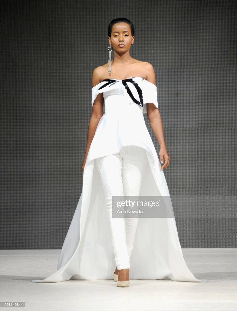 A model walks the runway wearing Viviane Valerlus at Vancouver Fashion Week Fall/Winter 2017 at Chinese Cultural Centre of Greater Vancouver on March 26, 2017 in Vancouver, Canada.