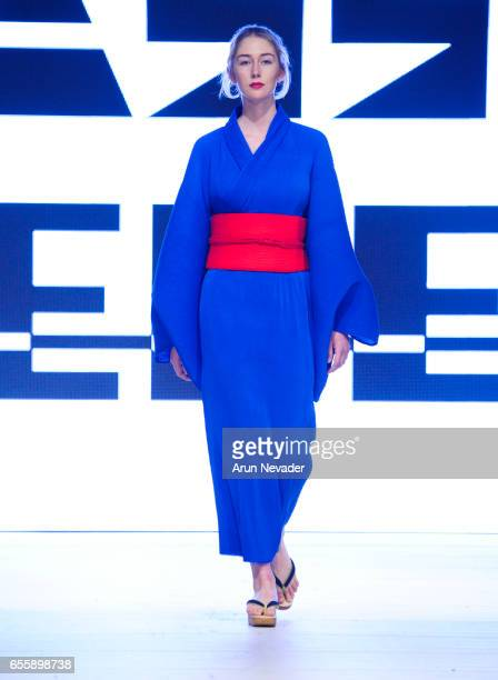 A model walks the runway wearing Wasso Vege's at Vancouver Fashion Week Fall/Winter 2017 at the Chinese Cultural Centre of Greater Vancouver on March...