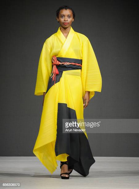 A model walks the runway wearing Wasso Vege's at Vancouver Fashion Week Fall/Winter 2017 at Chinese Cultural Centre of Greater Vancouver on March 21...