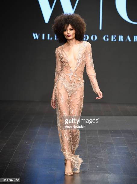 A model walks the runway wearing Willfredo Gerardo at Los Angeles Fashion Week Powered by Art Hearts Fashion LAFW FW/18 10th Season Anniversary at...