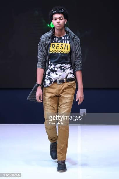 Model walks the runway wearing Yani Glam during NYFW Powered By hiTechMODA on February 08, 2020 in New York City.