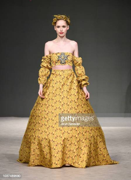 Model walks the runway wearing Yas Gonzalez at Vancouver Fashion Week Spring/Summer 19 - Day 4 on September 20, 2018 in Vancouver, Canada.