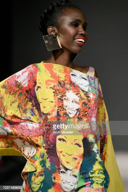 A model walks the runway wearing Yas Gonzalez at Vancouver Fashion Week Spring/Summer 19 Day 4 on September 20 2018 in Vancouver Canada