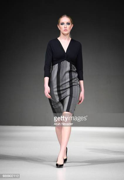 A model walks the runway wearing Yifat Jovani at 2018 Vancouver Fashion Week Day 2 on March 20 2018 in Vancouver Canada