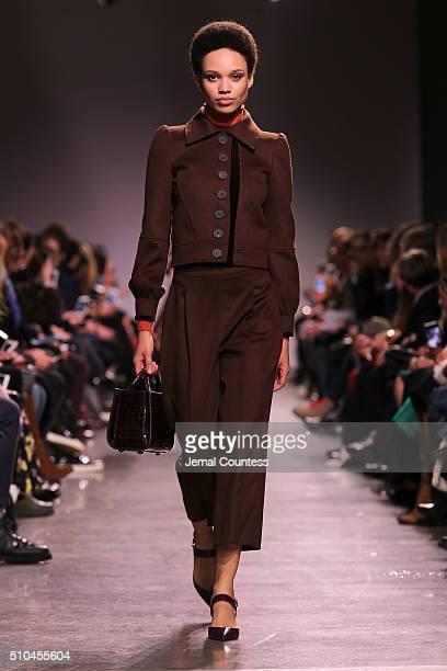 Model walks the runway wearing Zac Posen Fall 2016 during New York Fashion Week at Spring Studios on February 15, 2016 in New York City.