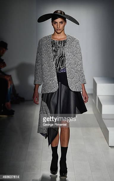 A model walks the runway wearing Zoran Dobric spring 2016 collection during World MasterCard Fashion Week Spring 2016 at David Pecaut Square on...