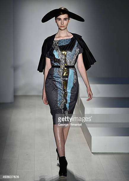 A model walks the runway wearing Zoran Dobric spring 2016 collection during World MasterCard Fashion Week Spring 2016 at David Pecaut Square on...