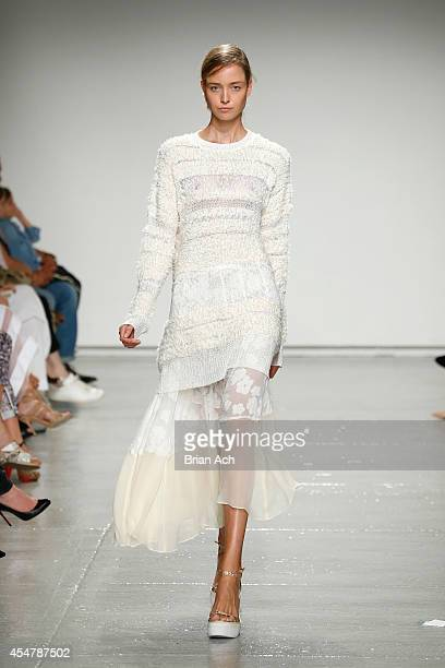 Model walks the runway with TRESemme at the Rebecca Taylor fashion show during Mercedes-Benz Fashion Week Spring 2015 at Center 548 on September 6,...