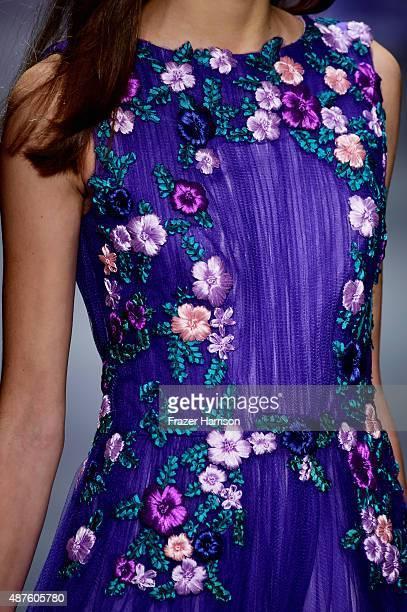 A model walks the runwayfashion detail at Tadashi Shoji fashion show during Spring 2016 New York Fashion Week The Shows at The Dock Skylight at...