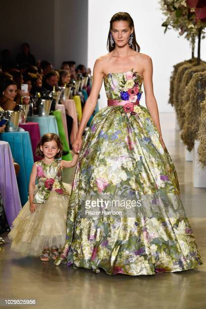 A model walks the runways at Badgley Mischka Runway during New York Fashion Week The Shows at Gallery I at Spring Studios on September 8 2018 in New...