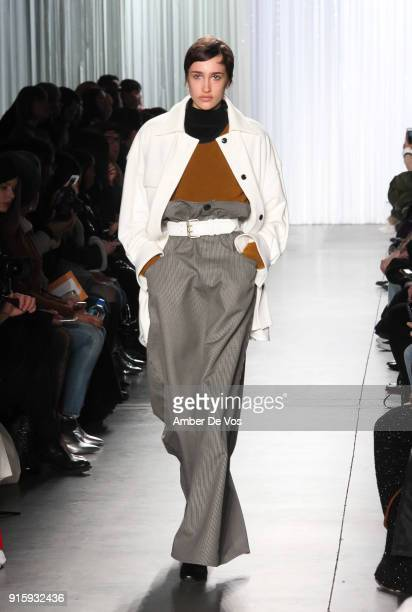 Model walks the runways at the Creatures of Comfort show during New York Fashion Week at Pier 59 Studios on February 8, 2018 in New York City.