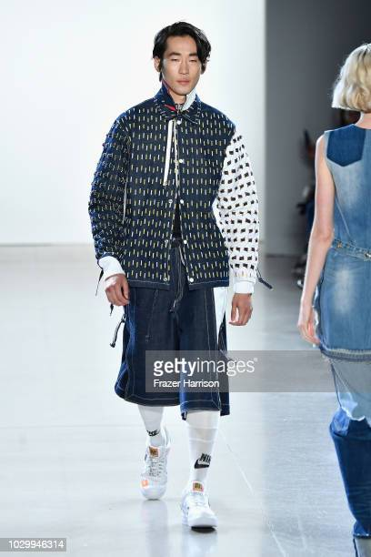 Model walks the runways at the Just In XX show during New York Fashion Week: The Shows at Gallery II at Spring Studios on September 9, 2018 in New...