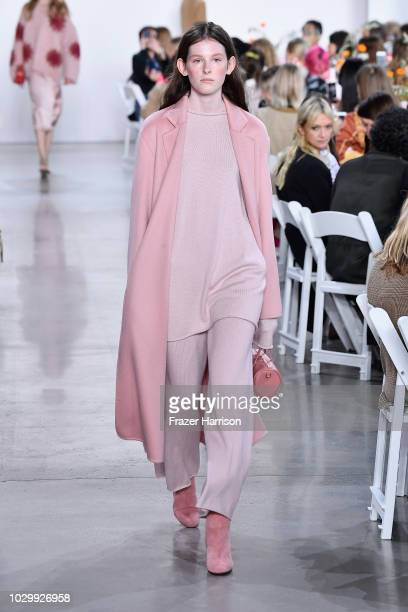A model walks the runways at the Mansur Gavriel show during New York Fashion Week The Shows at Gallery I at Spring Studios on September 9 2018 in New...