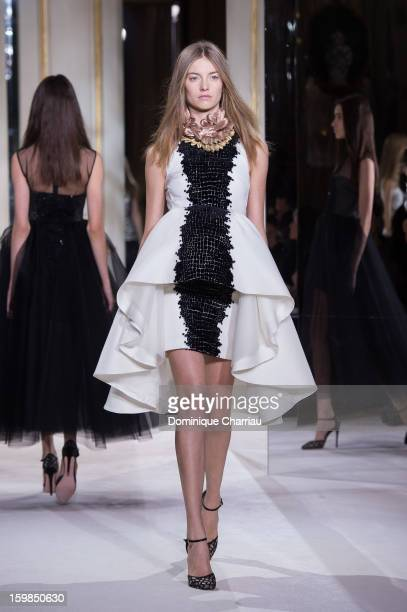 Model walks the ruway during the Giambattista Valli Spring/Summer 2013 Haute-Couture show as part of Paris Fashion Week at on January 21, 2013 in...