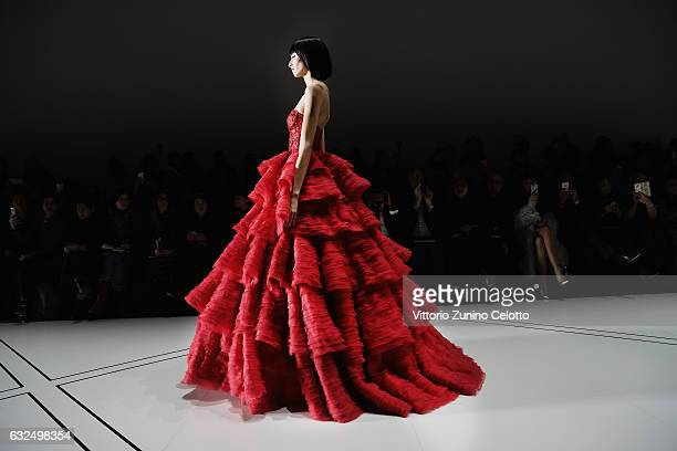 A model walks the ruway during the Ralph Russo show on January 23 2017 in Paris France