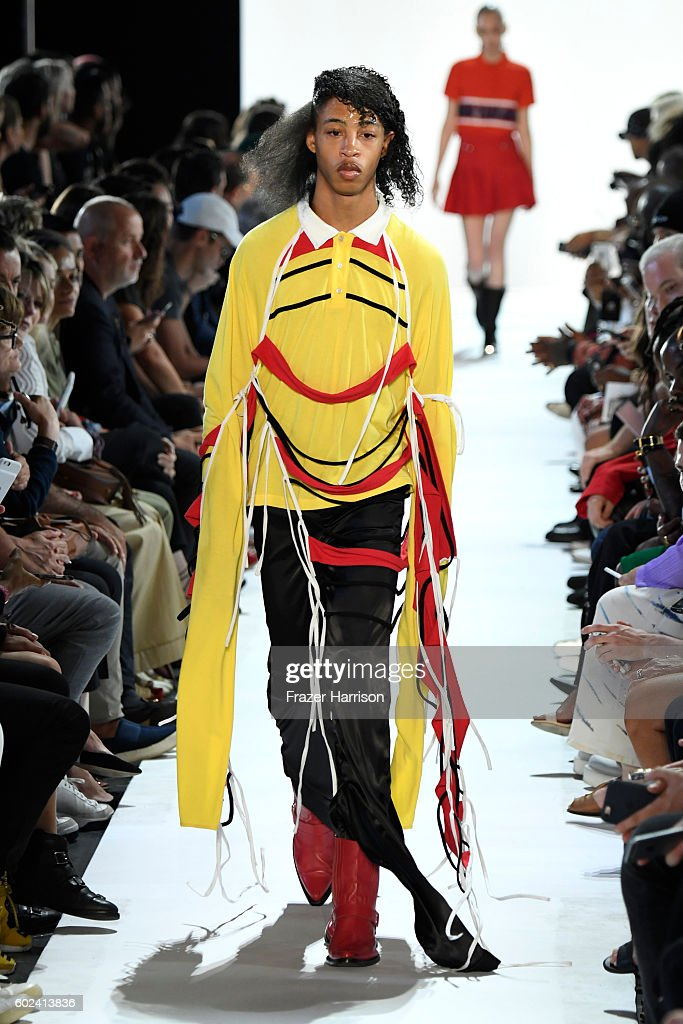 A model walks the ruwnay at the Hood By Air fashion show during New York Fashion Week: The Shows at The Arc, Skylight at Moynihan Station on September 11, 2016 in New York City.