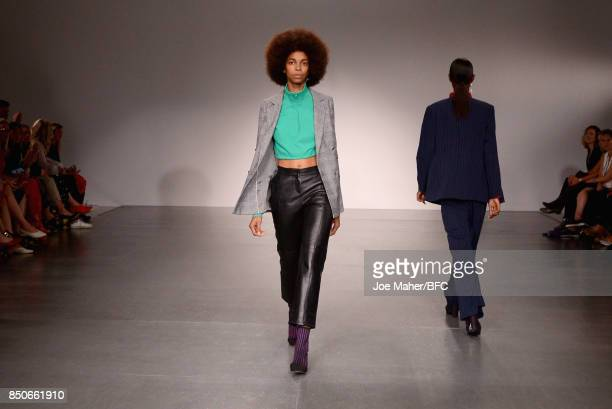 A model walks the Trends runway during the London Fashion Week Festival at The Store Studios on September 21 2017 in London England