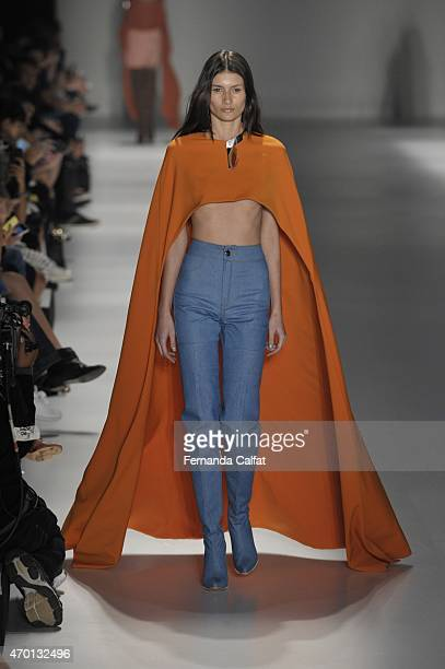 A model walks the Wagner Kallieno Runway at SPFW Summer 2016 at Parque Candido Portinari on April 17 2015 in Sao Paulo Brazil