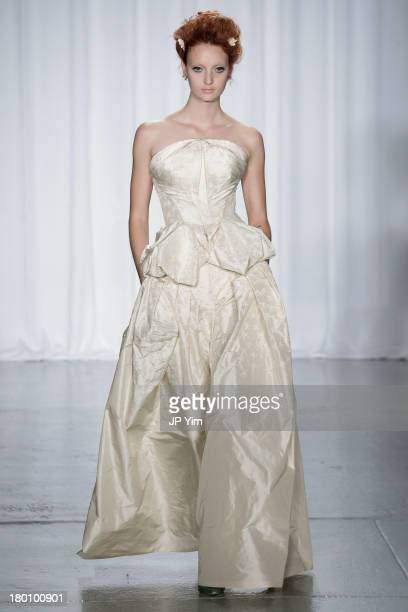 A model walks the Zac Posen runway during Spring 2014 MercedesBenz Fashion Week on September 8 2013 in New York City