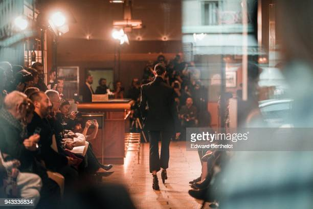 A model walks towards the photographers on the catwalk during Altuzarra during Paris Fashion Week Womenswear Fall/Winter 2018/2019 on March 3 2018 in...