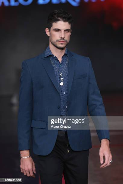A model walks walks the runway during the Galo Bertin fashion show as part of the MercedesBenz Fashion Week Mexico Fall/Winter 2019 Day 5 at Fronton...