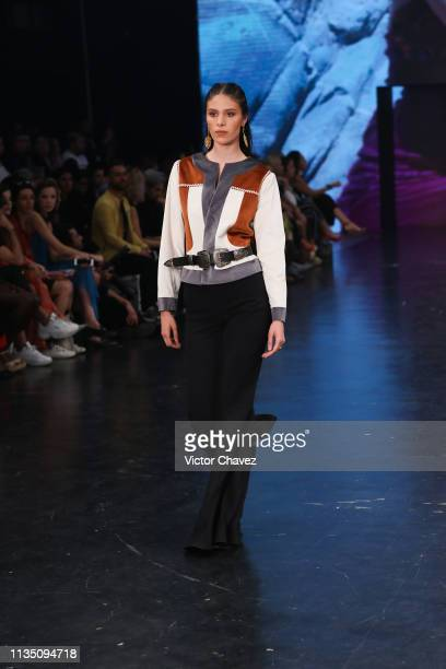 A model walks walks the runway during the Lydia Lavin fashion show as part of the MercedesBenz Fashion Week Mexico Fall/Winter 2019 Day 5 at Fronton...