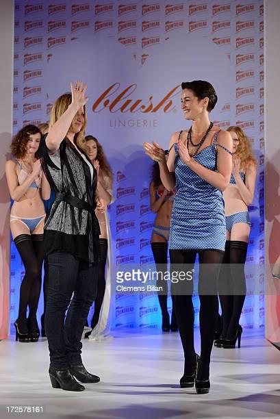 Model Wanda Badwal and owner of Blush Claudia Kleinert walk the runway at Cointreau Fizz Secret Garden presenting 'Blush' during MercedesBenz Fashion...