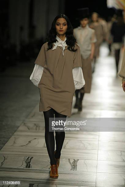 Model wearing 3.1 Phillip Lim Fall 2007 during Mercedes-Benz Fashion Week Fall 2007 - 3.1 Phillip Lim - Runway at Waterfront Building in New York...