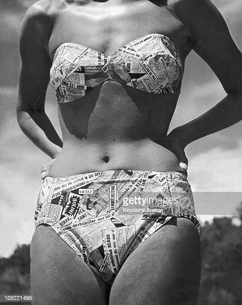 Model Wearing A Bathing Suit With A Newspaper Pattern In Antibes In The Alpes Maritimes Region In 1947