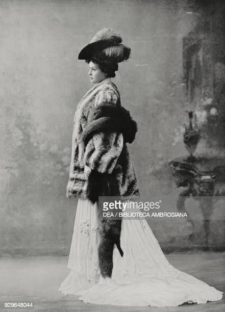 Model wearing a chinchilla jacket and silver fox fur stole Max model from Le FigaroModes No 24 December 1904